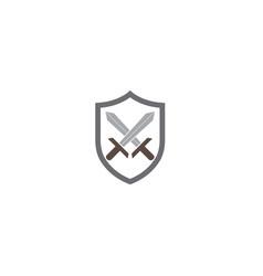 two swords inside shield for logo design vector image