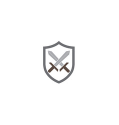 two swords inside the shield for logo design vector image