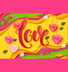 valentines day background love lettering vector image