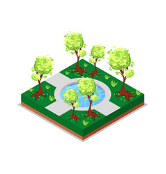 Water pool in park isometric 3d icon vector