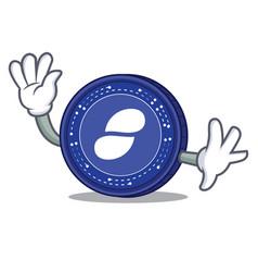 waving status coin character cartoon vector image