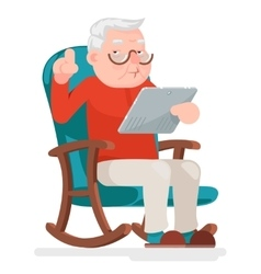 Web Surfing Online Shopping Old Man Character Sit vector image