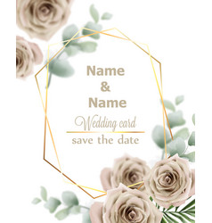 wedding card roses vintage decor design frame vector image