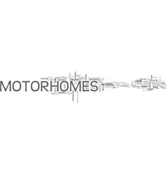 What to look for in motor homes text word cloud vector