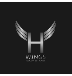 Wings H letter logo vector
