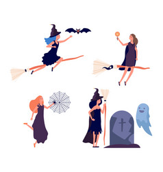 witches characters cute woman flies on broomstick vector image