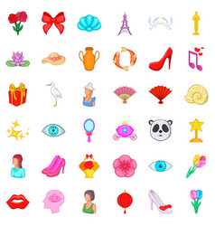 woman product icons set cartoon style vector image