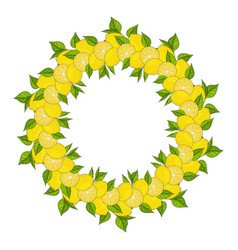 Wreath is made from yellow lemons and green leaves vector