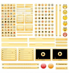yellow web design elements set vector image