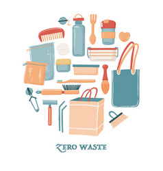 Zero waste objects in round shape for men vector