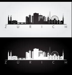 Zurich skyline and landmarks silhouette vector