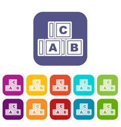 Abc cubes icons set flat vector