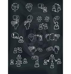 Doodle scheme people communication with icons vector image