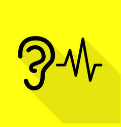Ear hearing sound sign black icon with flat style vector