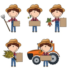 farmer man holding cardboard for messages vector image vector image