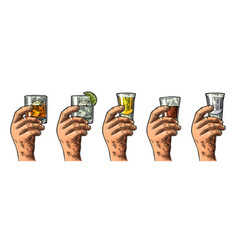 male hand holding glasses with tequila vodka rum vector image vector image
