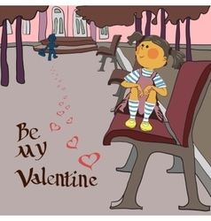 valentines day girl in the Park vector image