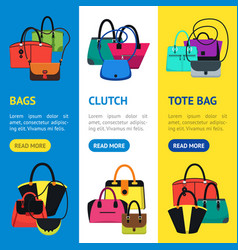 cartoon handbag or female bags banner vecrtical vector image vector image