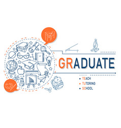 graduate icons collection for education vector image vector image