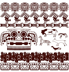 Set of ancient American ornaments vector image