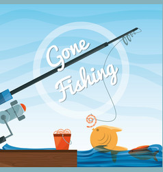 bucket with fish and rod vector image