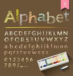 Hand drawn sketch alphabet with pastel color box vector image vector image