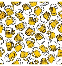 Mugs of beer lager ale drinks seamless pattern vector image vector image