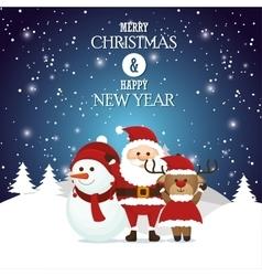 postcard merry christmas and happy new year santa vector image vector image