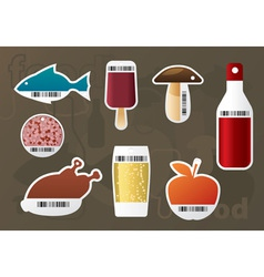 set of food stickers vector image