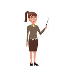 young woman standing holding stick presentation vector image