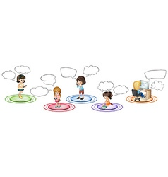 Children communicate through different devices vector image vector image