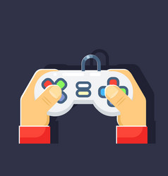 game console retro games player hands joystick vector image