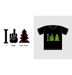 I hate new year and Christmas tree Logo for vector image vector image