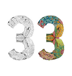 number three zentangle for coloring vector image vector image
