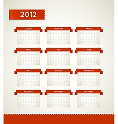 Red Vintage retro calendar for the new year 2012 vector image