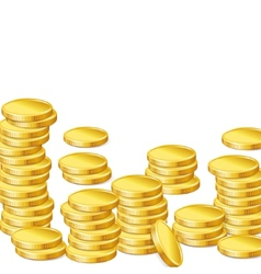Stacks of gold coins on white background vector image vector image