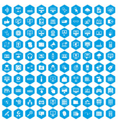 100 computer icons set blue vector