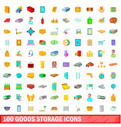 100 goods storage icons set cartoon style vector image