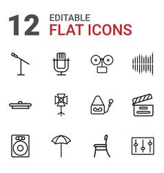 12 studio icons vector image