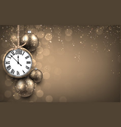 2018 new year background with clock vector