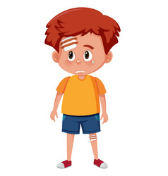 A boy injured character vector