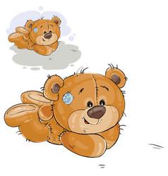 A brown teddy bear lies on vector