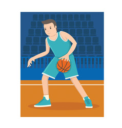A young basketball player dribble the ball vector