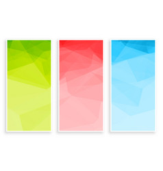 abstract low poly triangle colors banners set vector image