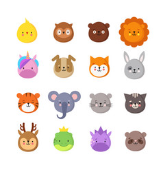 Animals manga smiles cute kawaii baby animal vector