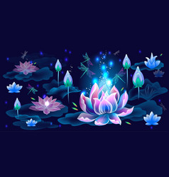 background with lotus flowers and dragonflies vector image