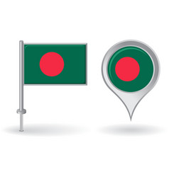 Bangladesh pin icon and map pointer flag vector image