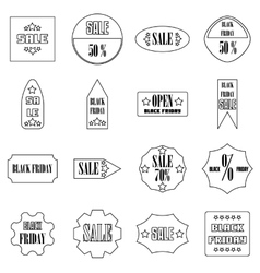 Black Friday Sales signs icons set outline style vector