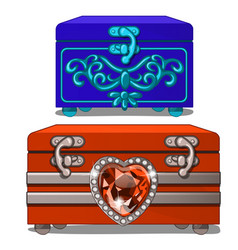 Blue box with ornament and red box with ruby heart vector