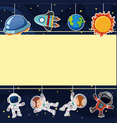 Border template with astronauts in space vector